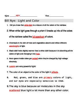 bill nye light and color bill nye light and color worksheet by jjms tpt