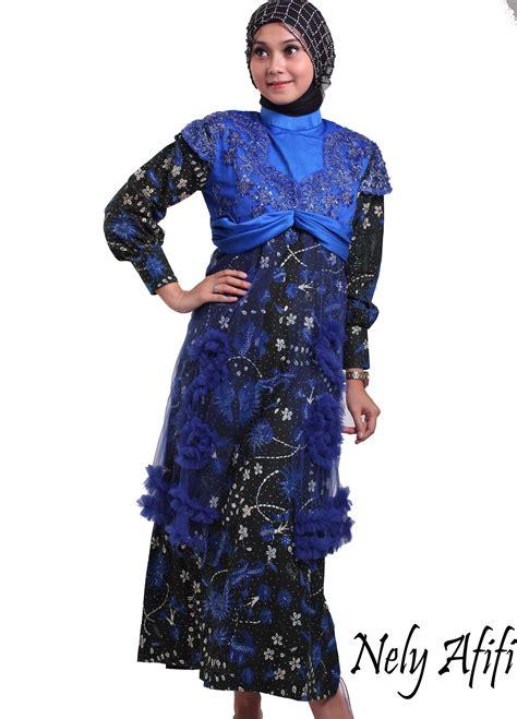 Gamis Tile Pesta gamis pesta batik kombinasi tile brocade biru