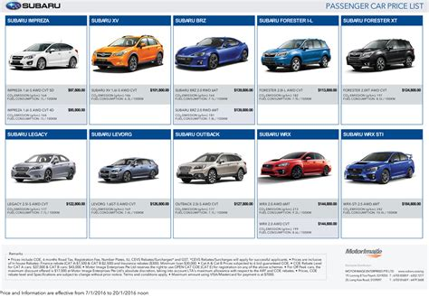 subaru price list subaru passenger car pricelist singapore motor show 2016