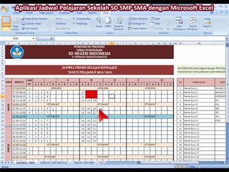 cara membuat model jadwal baru template jadwal sd aplikasi jadwal pelajaran excel templates