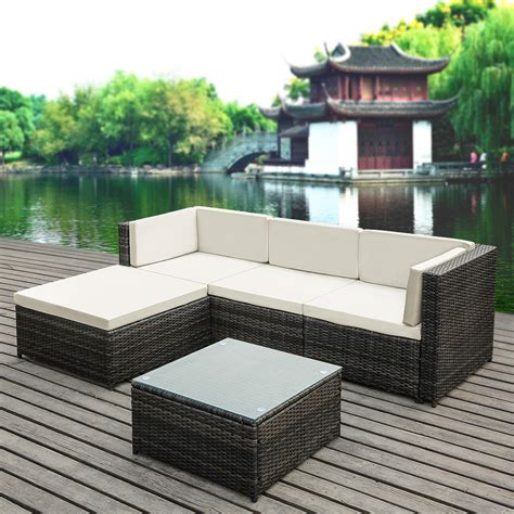 pe wicker outdoor furniture gray ikayaa 5pcs pe rattan wicker patio garden furniture sofa set lovdock