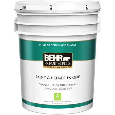 behr premium plus 5 gal ultra white semi gloss enamel zero voc interior paint 305005 the