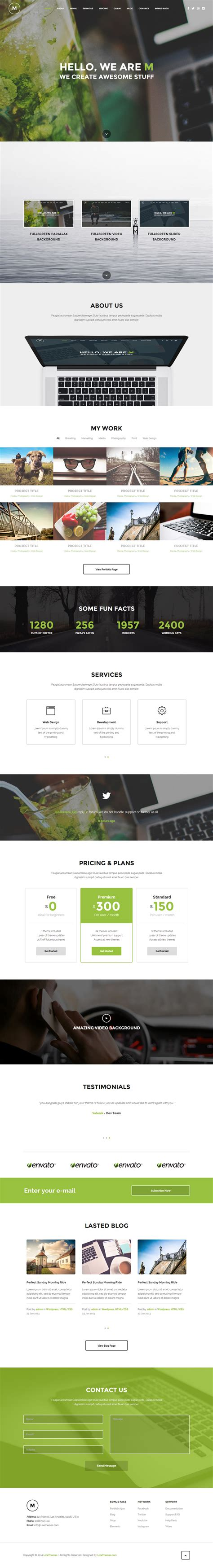 one page responsive html5 template m premium responsive multipurpose parallax one page