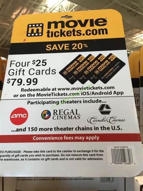 Costco Movie Gift Cards - movietickets com 4 25 gift cards costcochaser