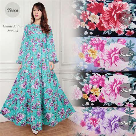 Gamis Katun Jepang koleksi baju gamis katun jepang motif bunga g01134 cantik