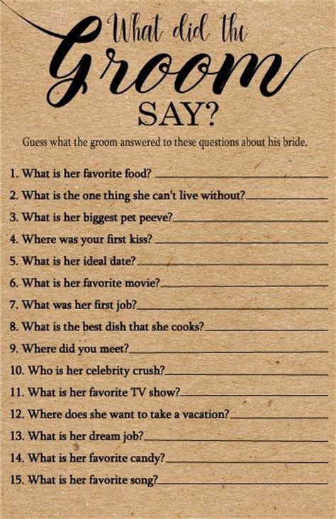 What Did the Groom Say About His Bride Game . Printable