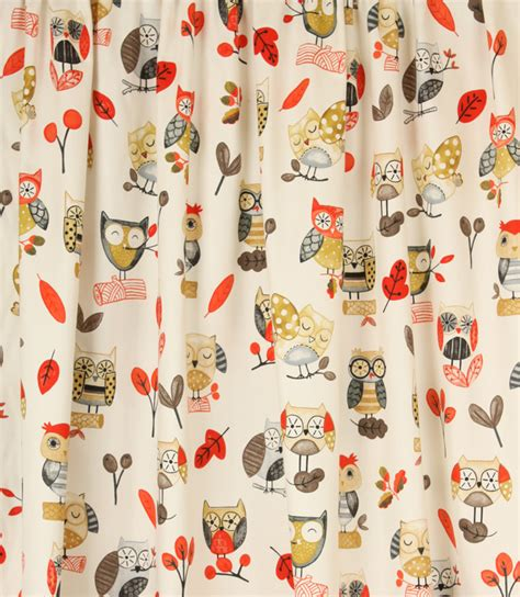 owl pattern roller blind ollie owl fabric red just fabrics