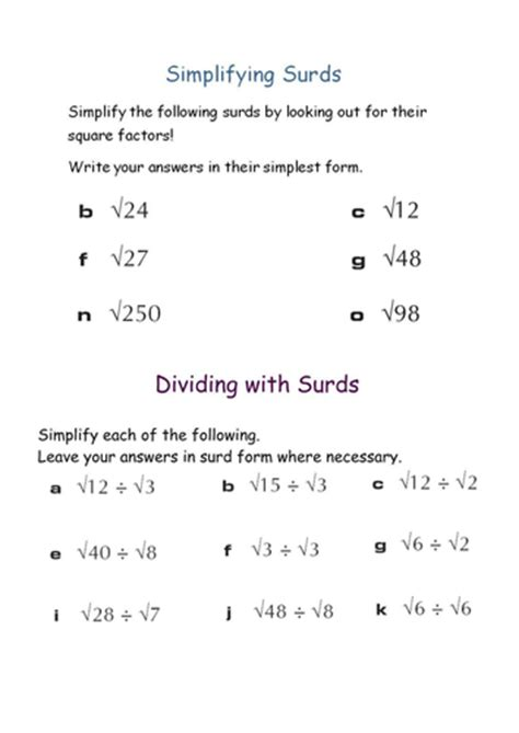 surds by kapixle teaching resources