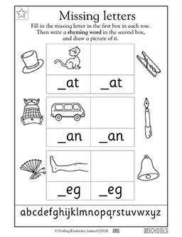 4 Letter Words Reading kindergarten preschool reading writing worksheets