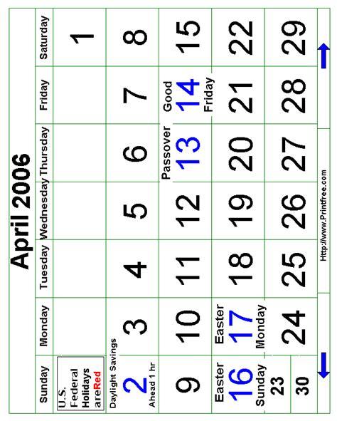 April 2006 Calendar Free Calendars To Print Free Calendars To Print