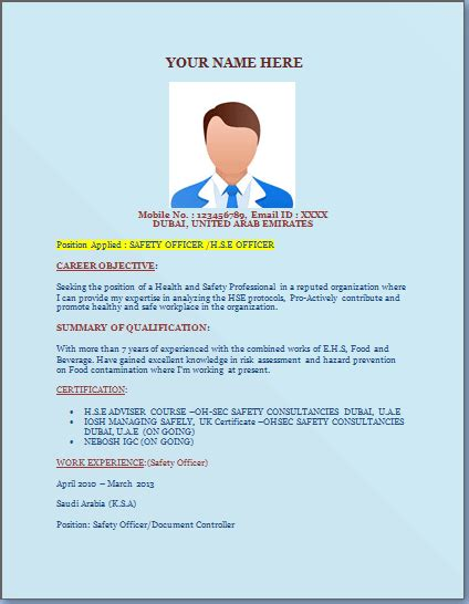 Safety Officer Resume Template Excel Word Templates Fit For Duty Safety Program Template