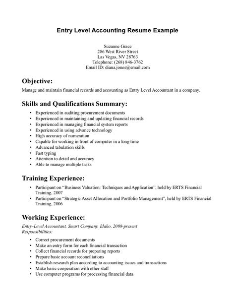 Entry Level Accounting Resume by Sle Entry Level Accounting Resume No Experience