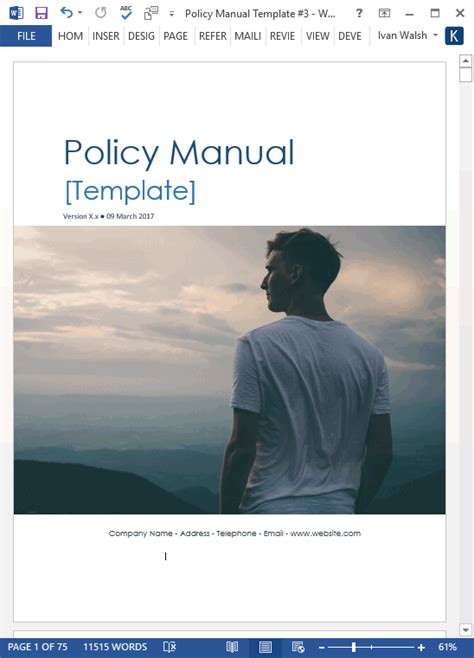 company procedures manual template policy procedures manual templates ms word 68