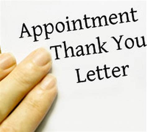 Thank You Letter For Appointment Appointment Thank You Letter