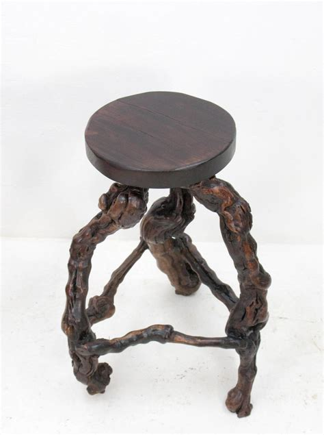 Mid Century Wood Stool by Mid Century Burl Wood Stools 1960s Set Of 2 For Sale At