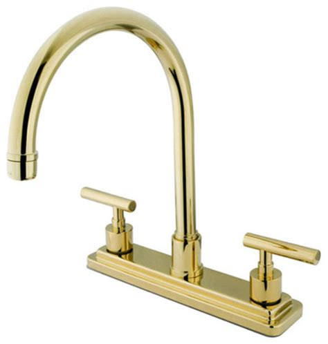 brass faucet kitchen polished brass round base metal lever twin handle kitchen