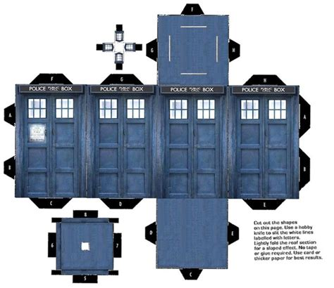 Tardis Papercraft - call box paper model paper craft and paper toys