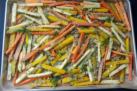 Make Ahead Roasted Root Vegetables - pepita root veggie fries with horseradish dill yogurt dip dula notes