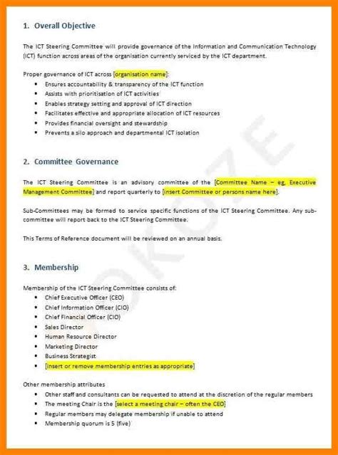 terms of reference template stunning terms of reference template contemporary resume