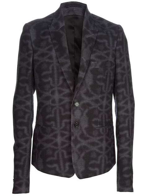 grey patterned blazer ann demeulemeester patterned blazer in gray for men lyst