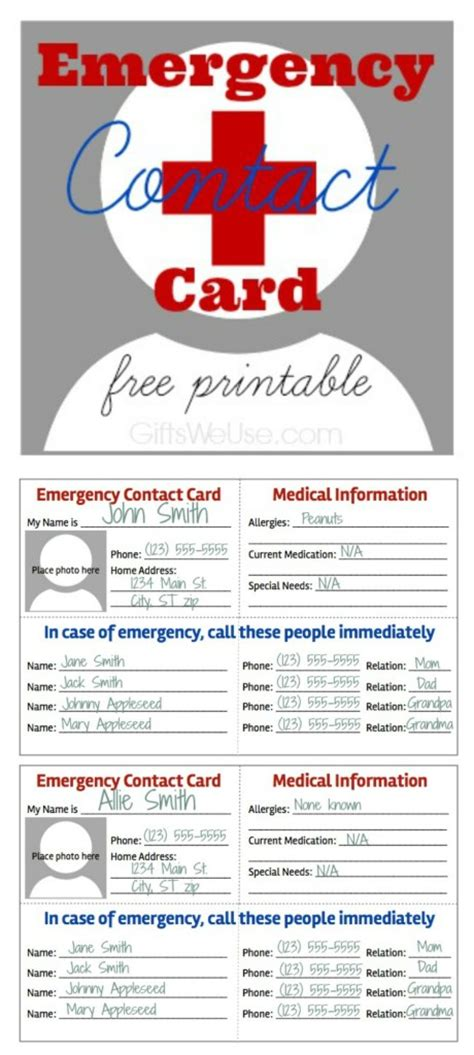 free contact card template 6 best images of free printable emergency contact list