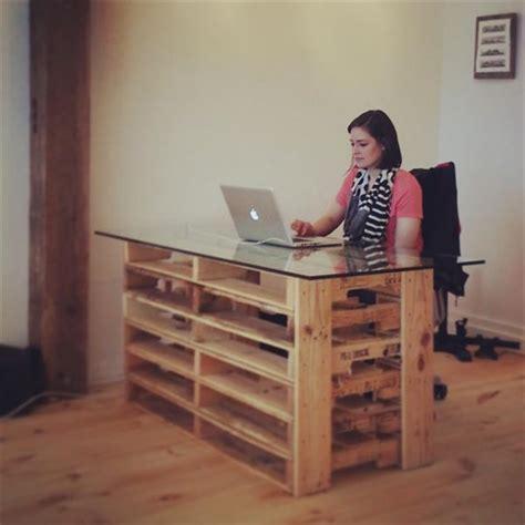 diy glass top desk office pallet desk with glass top pallet furniture diy