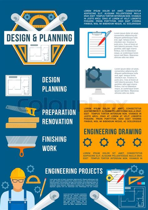 Building Design And Construction Industry Poster Template Architectural And Engineering Drawing Engineering Poster Template