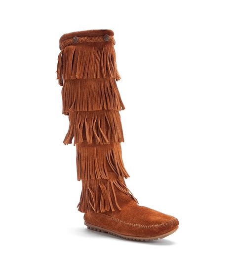 minnetonka 5 layer fringe boot in brown save 11 lyst