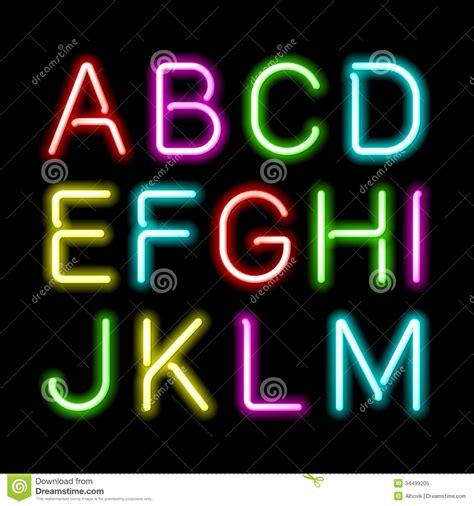 neon light letters font neon light font neon glow alphabet 字体