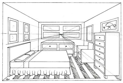 how to draw a bedroom one point perspective bedroom drawing cdxnd com home