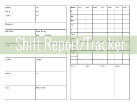 shift report sheet template nursing shift report pictures to pin on tattooskid
