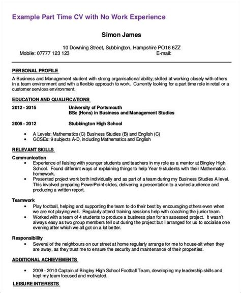 Student Part Time Job Resume by Student Part Time Job Resume Best Resume Collection