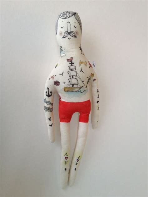mexican rag doll tattoo large vintage inspired handmade doll sailor