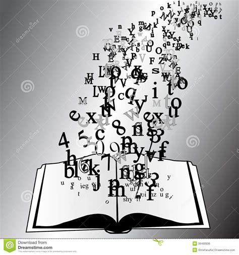 Livre Ouvert Avec Des Lettres De Vol Image libre de droits