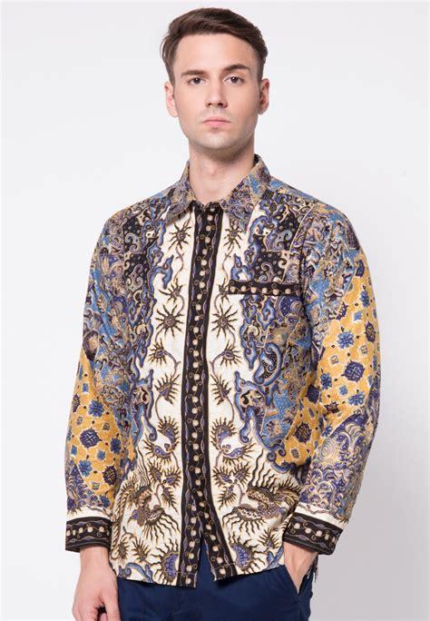 Kemeja Hem Batik Pria Lengan Panjang Motif Jokowi Sogan Biru kemeja batik sinaran 4 by arjuna weda ag1872 klikplaza shop