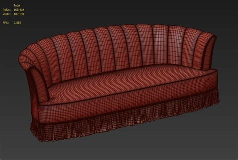 velor sofa 3d model red velor sofa sevilliana by koket vr ar low