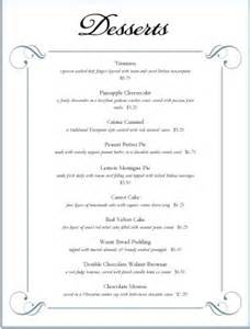 desserts menu dessert menus