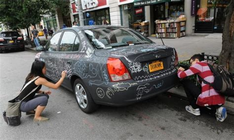 chalkboard paint your car car is the chalk of the town ny daily news