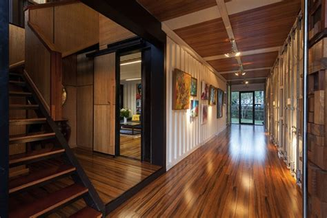 wooden interior design for stylish shipping container home