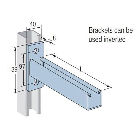 Enigma Electric Dropbolt Glass Fitting Bracket Only cantilever bracket p2663 dipped galvanised 700mm