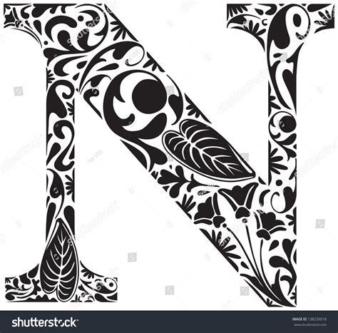 C N K Black floral initial capital letter n stock vector 138230018