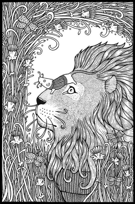 lion zentangle color me zoo pinterest lions adult the lion and the mouse by anita inverarity adult
