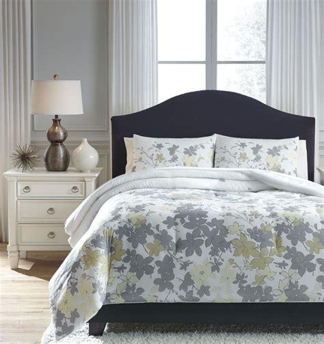 yellow queen size comforter sets maureen gray and yellow queen comforter set from ashley