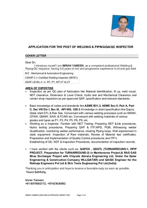 Certified Welding Inspector Cover Letter by Imran Yameen Cv