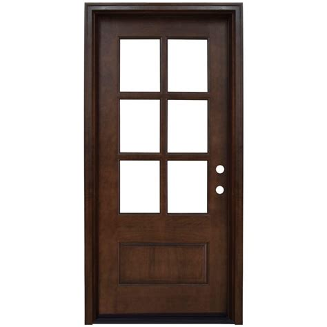 Wooden Exterior Doors With Glass Steves Sons 36 In X 80 In Left 6 Lite Clear Stained Mahogany Wood Prehung