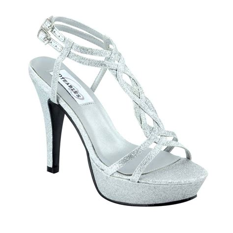 silver high heeled shoes silver glitter prom high heel strappy