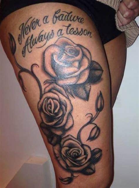 rose tattoo thigh pinterest woman thigh tattoo rose font tattoo tattooed tattoos