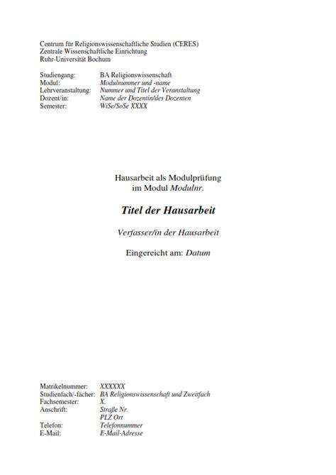 Rub Design Vorlage Deckblatt Vorlage Hausarbeit Und Seminararbeit Masterarbeit Deckblatt Vorlage Times
