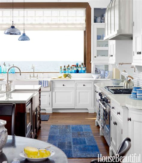 a blue house with moroccan style on lake michigan
