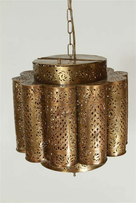 Moroccan Light Fixtures Pierced Brass Moroccan Light Fixture In Alberto Pinto Style Image 8